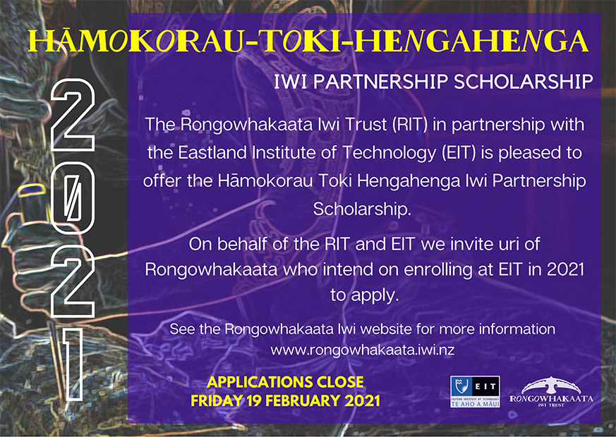 HĀMOKORAU-TOKI-HENGAHENGA IWI PARTNERSHIP SCHOLARSHIP APPLICATION 2021
